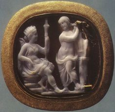 Apollo and Artemis.  Sardonyx. 1st century B.C.  2.4 × 2.2 cm.