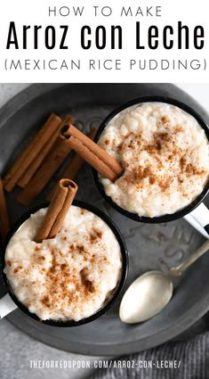 Arroz con Leche (or Mexican Rice Pudding) is a delicious Mexican dessert made from simple ingredients including rice, milk, cinnamon, and sugar. It can be served hot or cold and is guaranteed to satisfy any sweet tooth.