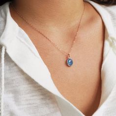 Rose Gold Blue Chalcedony Necklace