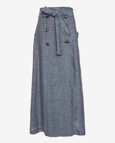 Marissa Webb Alexina Chambray Sailor Maxi Skirt/Dress: Here we have a sailor design which is absolutely fabulous on this re-invented chambray maxi skirt which is also a dress. Two pockets at sides. Belt tie. In blue. Length from waistline to hem: 39 Made in ...