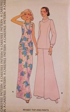 PRINCESS TOP Sewing Pattern ~ Vintage 1970s Tops & Wide Bell Bottom Pants MINT