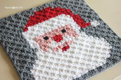 Crochet Santa Pixel Square - Repeat Crafter Me. Crochet this fun pixel square on its own or as part of a Christmas Afghan! Make it with Vanna's Choice in red, white, peach, and grey and a size F crochet hook!