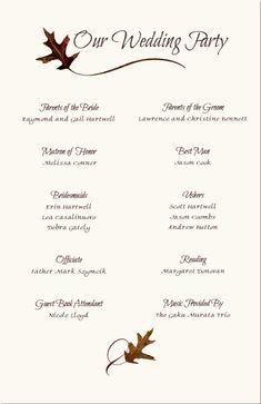 Wedding Reception Program Sample | Service | Kid's Wedding Ideas ...