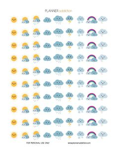 Hello my planner addicts  I will start to make more decorative printable planner stickers this week. Your suggestions are always appreciated. So today, it's Weather Kawaii. This Freebie fits in every