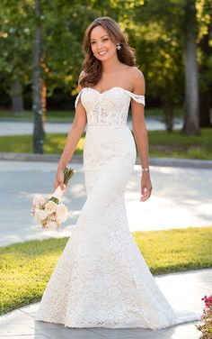 Wedding Dresses Boho Tea Length 6595 Chic Wedding Dress with Off-the-Shoulder Sleeves by Stella York.Wedding Dresses Boho Tea Length 6595 Chic Wedding Dress with Off-the-Shoulder Sleeves by Stella York Chic Wedding Dresses, Lace Wedding Dress, Wedding Dress Styles, Bridal Dresses, Wedding Gowns, Bridesmaid Dresses, Dress Lace, Wedding Ceremony, Wedding Outfits