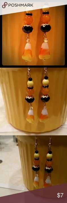 Candy Corn of glass, crystals Awesome Holiday Eara Handcrafted Strikingly Beautiful pair of Earart! Always made of high quality beads and materials! Handcrafted by me with a ton of Love! ? All 1 of a kind designs!  #Earart  #1ofakind  #uniqueisgreat  #handmadeisthebomb! ! ! !  #Onlyuwillhave! ! ! ! ! ! ! ! ! ! ! ! ! ! ! ! ! ! my own  Jewelry Earrings