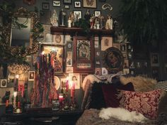 Low Budget Home Decoration Ideas - Eclectic Home Decor Goth Bedroom, Room Ideas Bedroom, Gothic Bedroom Decor, Gothic Room, Gothic House, Gothic Living Rooms, Witch Cottage, Witch House, Witch Room