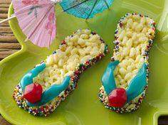 Rice crispie treats & fruit roll up flip flops too cute!!