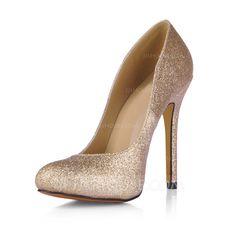 Sparkling Glitter Stiletto Heel Pumps Closed Toe shoes (085017508)