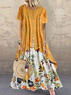 Fashion O-NEWE Vintage Print Patchwork Summer Plus Size Maxi Dress with Pockets{ - NewChic Mobile Plus Size Maxi Dresses, Short Sleeve Dresses, Summer Dresses, Autumn Dresses, Comfy Dresses, Evening Dresses, Plus Size Sommer, Vestidos Vintage, Themed Outfits
