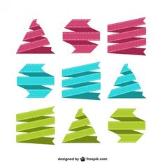 Colorful Ribbons Set Free Vector