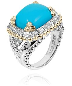 Ring in 14k Gold/Sterling Silver with 0.26 Diamond and Turquoise stone #VahanTurquoise #VahanPinterest
