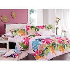 Orifashion 4 Pieces Cotton Bedding Set With Bright tropical Floral Printing Bedroom Themes, Bedroom Sets, Girls Bedroom, Girl Rooms, Beach Furniture Decor, Tropical Decor, Tropical Prints, Floral Bedroom, Cotton Bedding Sets