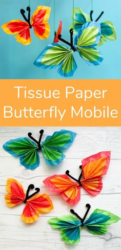 Tissue Paper Butterfly Mobile Craft Supplies: Tissue papers in contrasting colors Pipe cleaners String Scissors & 2 paper straws Tissue Paper Crafts, Paper Crafts For Kids, Crafts To Make, Arts And Crafts, Simple Paper Crafts, Crafts For Seniors, Craft Kids, Paper Butterfly Crafts, Paper Butterflies