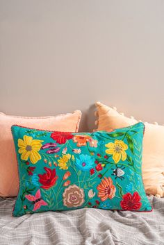 A striking cotton cushion cover adorned with a meadow of floral, fauna and bugs. Handmade in Moradabad, India. Place amongst plainer textiles and soft furnishings to make a bold statement. Handmade Fair trade Plastic Free Dimensions x Boho Cushions, Handmade Cushions, Decorative Cushions, Throw Cushions, Designer Bed Sheets, Designer Pillow, Front Room Furnishings, Soft Furnishings, Cushion Cover Designs
