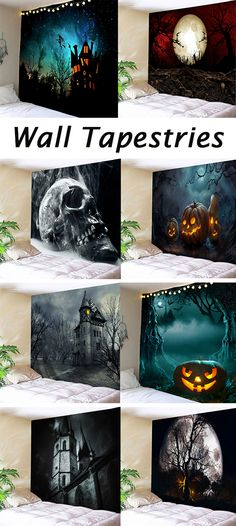 Halloween decor ideas:wall tapestries - Mein Geburtstag - crafts home Halloween Prop, Easy Halloween Decorations, Cheap Halloween, Outdoor Halloween, Halloween Crafts, Halloween Costumes, Halloween Makeup, Manualidades Halloween, Wall Tapestry