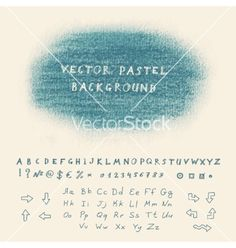 Pastel background vector. Doodle font letters by dacascas on VectorStock®