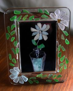 Crystal Frame Decorated with Sea Glass by oceansbounty on Etsy, $20.00
