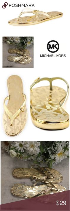 Michael Kors Emory Buckle Thongs in Gold These are really cute thong sandals! The gold is actually understated when worn and not as overstated as it looks in the pictures :)   Michael Kors Gold Emory Buckle Thong Sandals. Size 9 1/2. Can fit sizes 9, 9 1/2, and Size 10. Very lightly used; one of the clients who I style returned them after having them for less than a week, so I can't imagine they were worn more than once or twice! I'm currently cleaning out my client closets.  Free gift with…