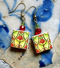 Portugal  Antique Tile Replica Earrings Pink and Green by Atrio, $14.00
