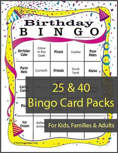 Birthday Bingo Cards - Printable Birthday Bingo Games for Kids & Adults Birthday Games For Adults, 75th Birthday Parties, Gold Birthday Party, Adult Birthday Party, Sleepover Party, 25th Birthday, Birthday Ideas, Bingo Games For Kids, New Year's Games