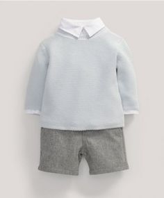 Welcome to the World Three Piece Shirt, Cardigan and Grey Wool Trouser Set