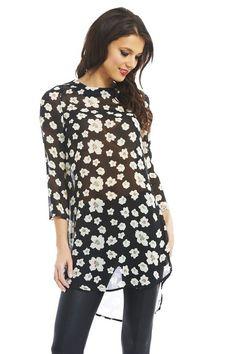 AX Paris Women's Floral Chiffon Tunic (Black, Size:4)