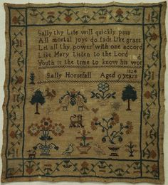 Small Early 19th Century Motif Verse Sampler by Sally Horsfall Aged 9 1824 | eBay