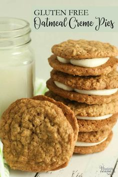 Gluten Free Oatmeal Creme Pies Copycat Recipe Hunny Im Home Cookies Sans Gluten, Gluten Free Christmas Cookies, Dessert Sans Gluten, Gluten Free Cookie Recipes, Gluten Free Sweets, Gf Recipes, Gluten Free Deserts Easy, Gluten Free Pie, Easy Gluten Free Cookies