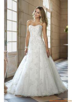 Robe de mariage pas cher tulle applique dentelle perles