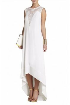 BCBG White Denisa High Low Dress Lace Insert