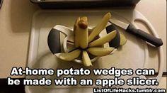 Odeia cortar batatas? Use um fatiador de maçãs. | 13 truques que vale a pena tentar mesmo que eles sejam estranhos