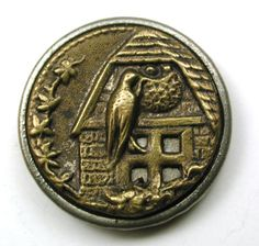 Antique-Brass-Button-Mamma-Bird-Tends-to-Nest-in-Eave-of-cottage-5-8-034