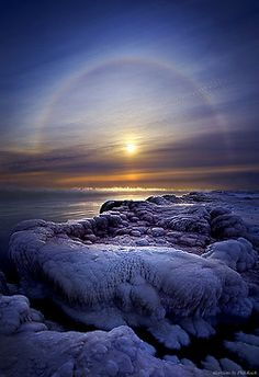 studioview:  Somewhere Over the Halo by Phil~Koch The subzero Polar Vortex in Wisconsin Lake Michigan Horizons by Phil Koch