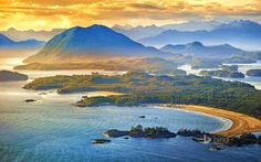 Aerial shot of Tofino with Clayoquot Sound, British Columbia, Canada