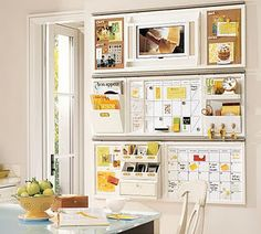 Family Command Center Mix organizers (receipts, coupons), calendar, art, pictures in collage on kitchen wall