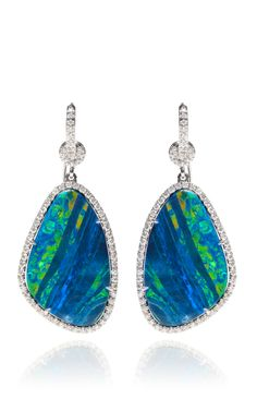 Shop Opal And Organic Diamond Earrings. These drop earrings by Nina Runsdorf feature two tiers of opal stones separate by an organic diamond with diamond pave throughout, fashioned in white gold. Opal Earrings, Opal Jewelry, Jewelry Box, Fine Jewelry, Garnet Jewelry, Hippie Jewelry, Turquoise Jewelry, Jewelry Making, Jewellery