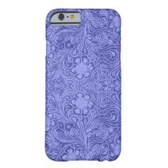 Blue Suede Leather Look Floral Design iPhone 6 Case