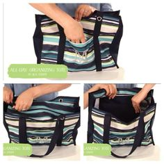 All-Day Organizing Tote in Sea Stripe *New Fall 2014* Thirty-One