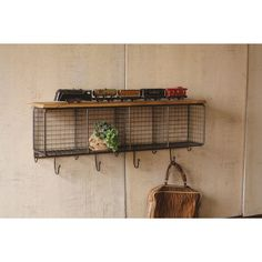 Large Wire Mesh Four Horizontal Cubbies wth Wooden Top