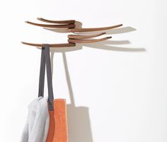 Wing, the wall coat hanger by Arper, to decorate your house walls with the elegance of walnut-wooden arms. Find it out now on our online configurator. Coat Hanger, Wall Hanger, Clothes Hanger, Hangers, Wing Wall, Wings Design, House Wall, Walnut Finish, Bucket Bag