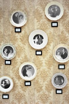 The bride at this Kentucky wedding created this display by decoupaging thrift-store china with photocopied wedding portraits of her and the groom's relatives on their wedding days. The wall was covered with damask wallpaper found on eBay.   - CountryLiving.com