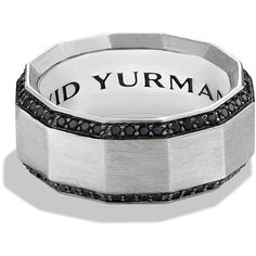 David Yurman Faceted Silver & Black Diamond Band Ring (£1,355) ❤ liked on Polyvore featuring men's fashion, men's jewelry, men's rings, apparel & accessories, silver, mens sterling silver black diamond ring, mens silver rings, mens silver band rings, mens band rings and mens black diamond rings