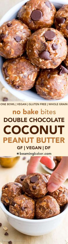 No Bake Double Chocolate Peanut Butter Coconut Energy Bites (V, GF): an easy, one bowl recipe for deliciously protein-packed chocolate peanut butter energy bites. #Vegan #GlutenFree #DairyFree   BeamingBaker.com
