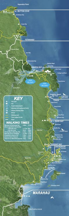 Abel Tasman Map (Uppermost South Island), with walking times, etc. Nz South Island, New Zealand South Island, Abel Tasman National Park, New Zealand Houses, Kiwiana, New Zealand Travel, South Pacific, Wineries, Places