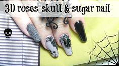 How to: 3D acrylic roses & skull on nails | Easy nailart tutorial - YouTube