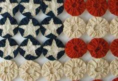 Detail, Early 1900's Americana Yoyo Quilt