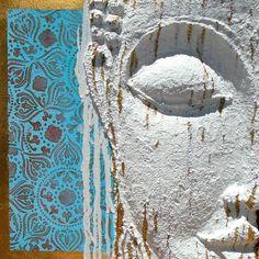 Artist Amanda Bellino sculpted on canvas Figment