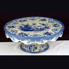 Fluted Cake Stand - Blue & White French Vintage & Rose Design by Somerton Green