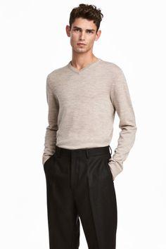 Джемпер из мериносовой шерсти - Бежевый меланж - Мужчины | H&M RU 1